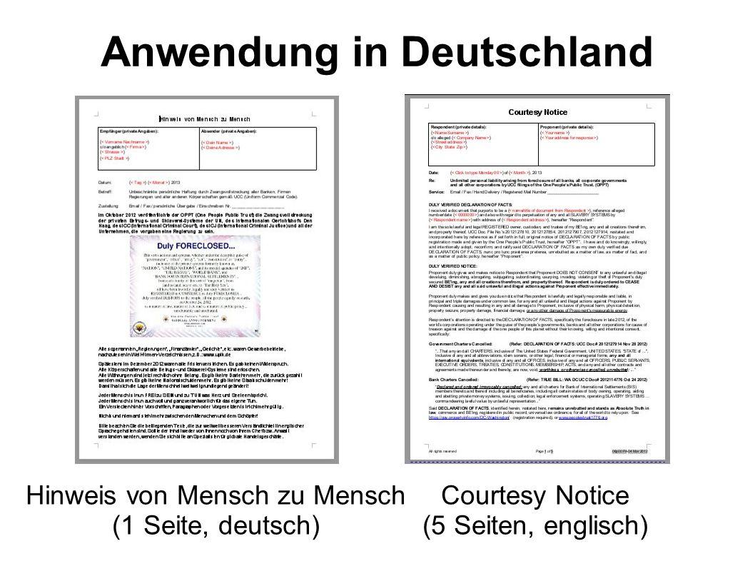 Anwendung in Deutschland