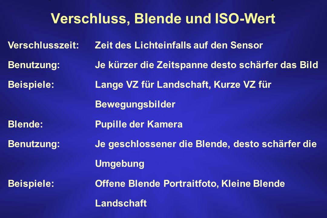 Verschluss, Blende und ISO-Wert