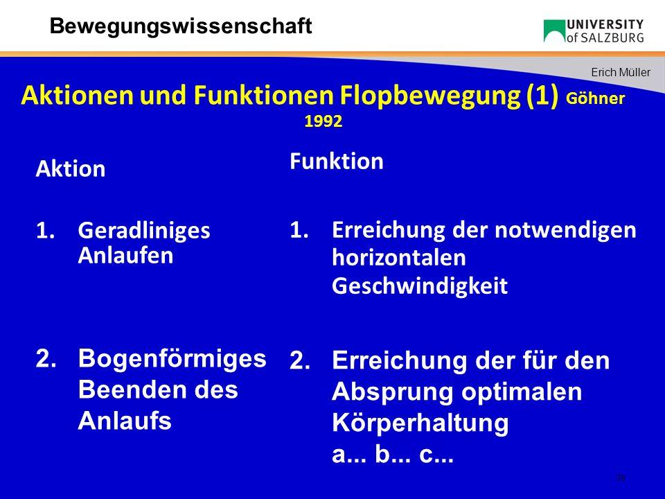 Aktionen und Funktionen Flopbewegung (1) Göhner 1992