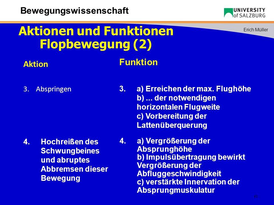 Aktionen und Funktionen Flopbewegung (2)