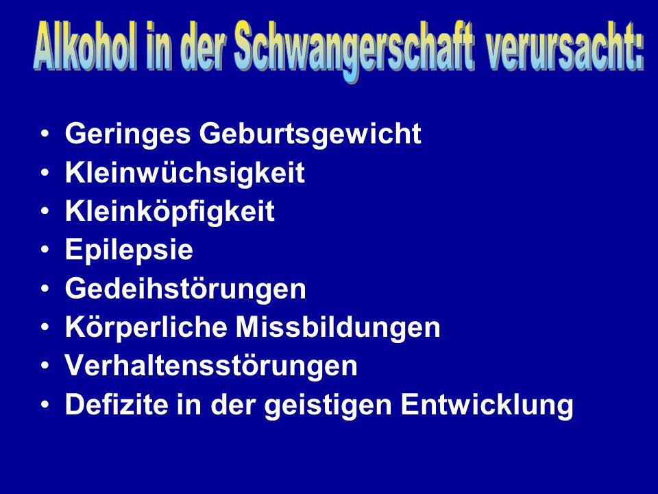 Alkohol in der Schwangerschaft verursacht: