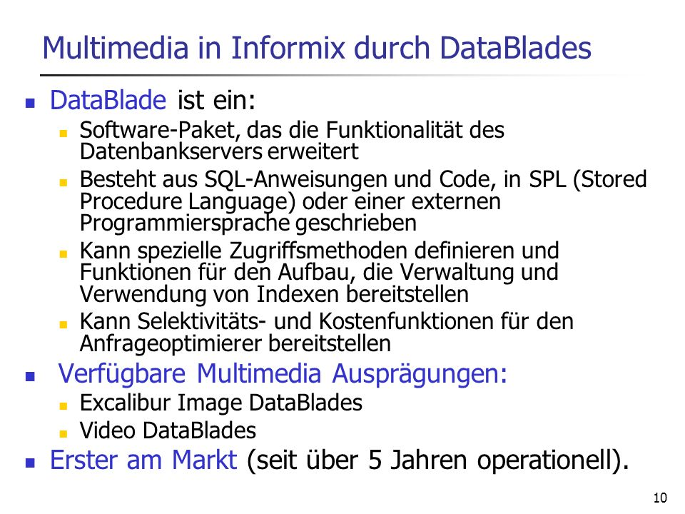 Multimedia in Informix durch DataBlades