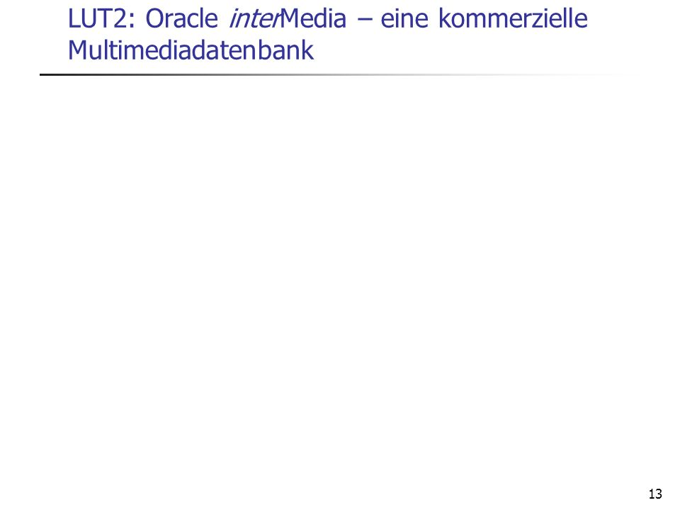 LUT2: Oracle interMedia – eine kommerzielle Multimediadatenbank