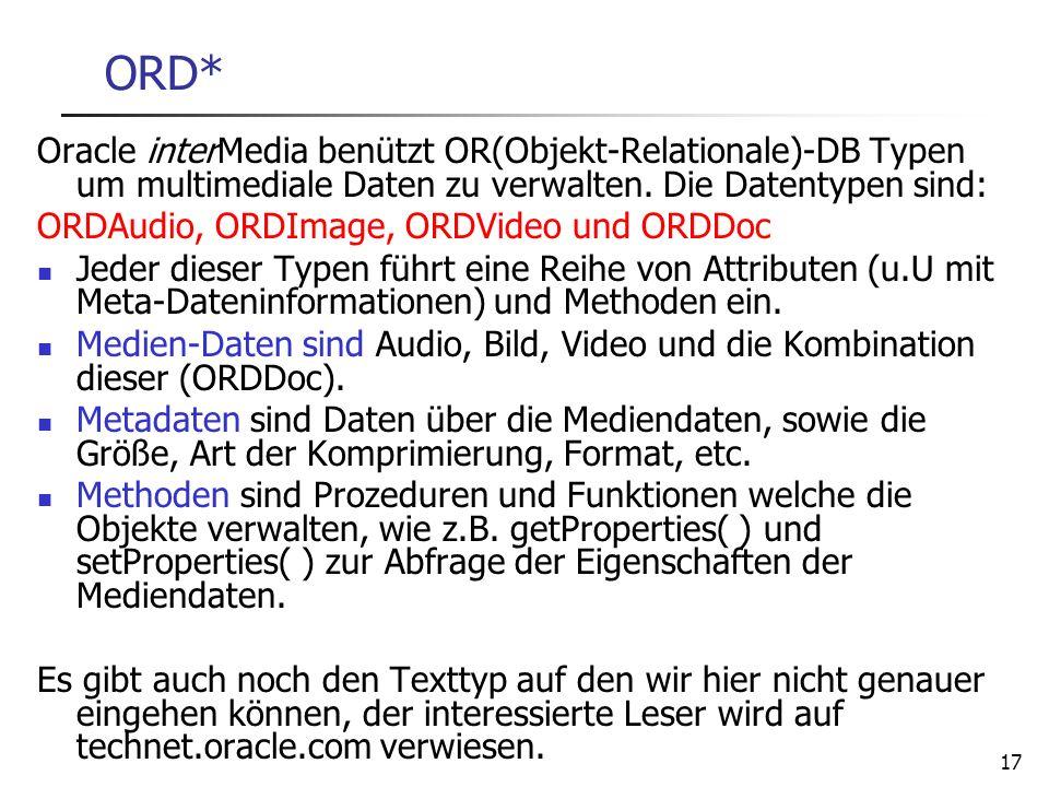 28.03.2017 ORD* Oracle interMedia benützt OR(Objekt-Relationale)-DB Typen um multimediale Daten zu verwalten. Die Datentypen sind: