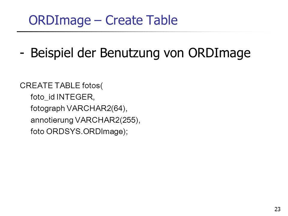ORDImage – Create Table