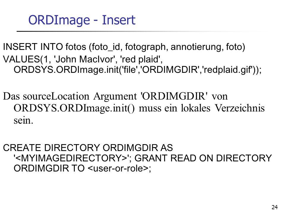 28.03.2017 ORDImage - Insert. INSERT INTO fotos (foto_id, fotograph, annotierung, foto)
