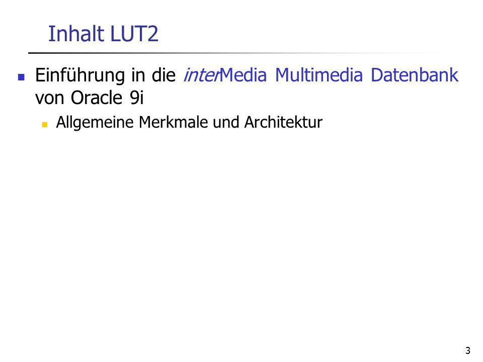 28.03.2017 Inhalt LUT2. Einführung in die interMedia Multimedia Datenbank von Oracle 9i. Allgemeine Merkmale und Architektur.