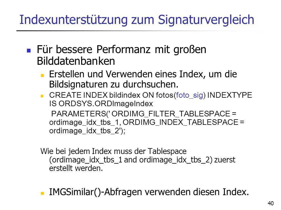 Indexunterstützung zum Signaturvergleich