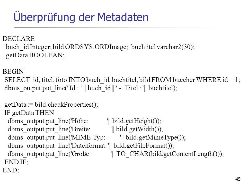 Überprüfung der Metadaten