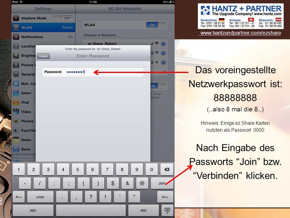Nach Eingabe des Passworts Join bzw. Verbinden klicken.