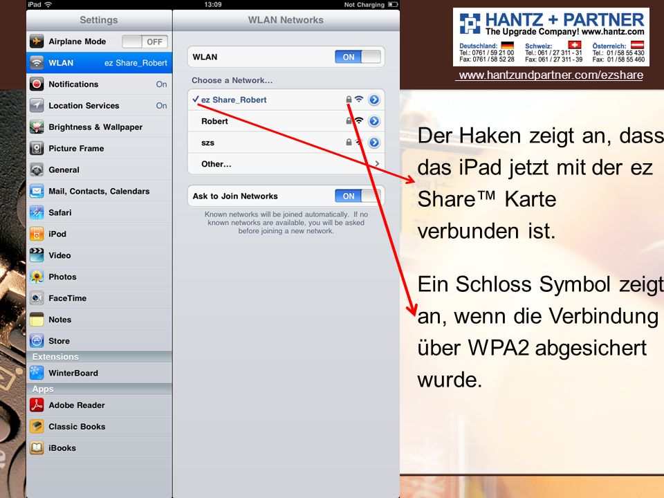 www.hantzundpartner.com/ezshare Der Haken zeigt an, dass das iPad jetzt mit der ez Share™ Karte verbunden ist.