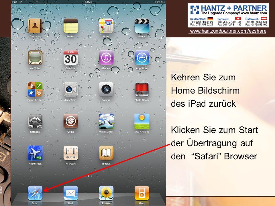 Kehren Sie zum Home Bildschirm des iPad zurück