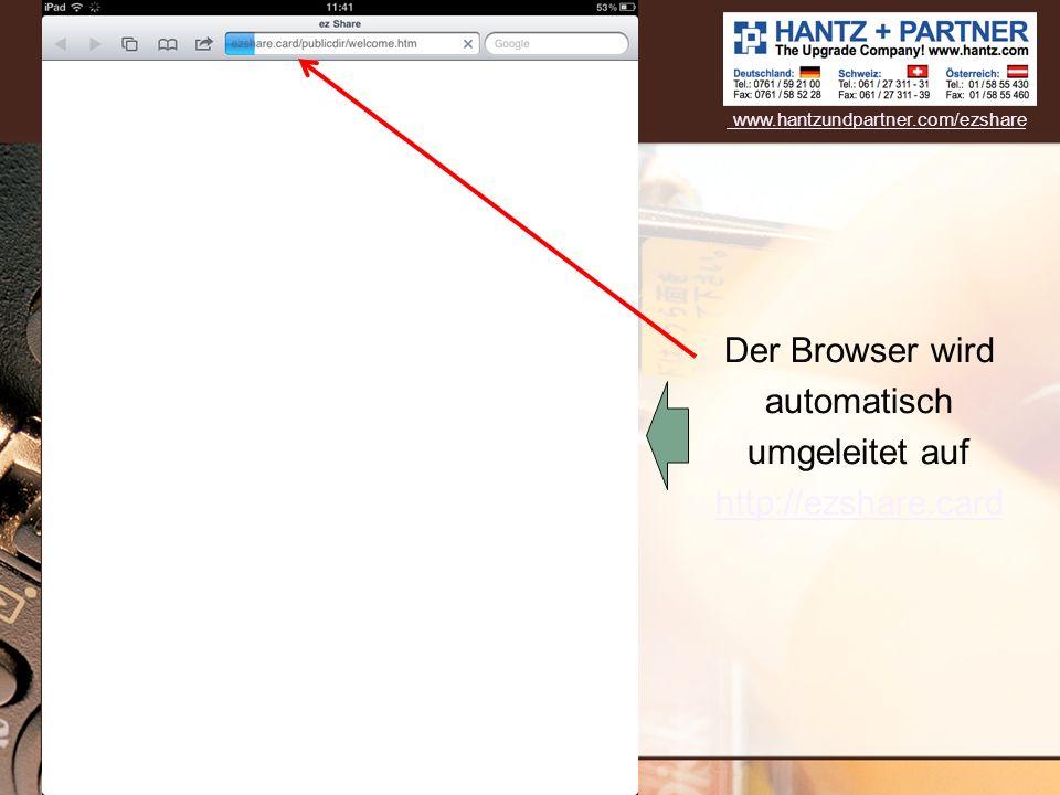 Der Browser wird automatisch umgeleitet auf http://ezshare.card