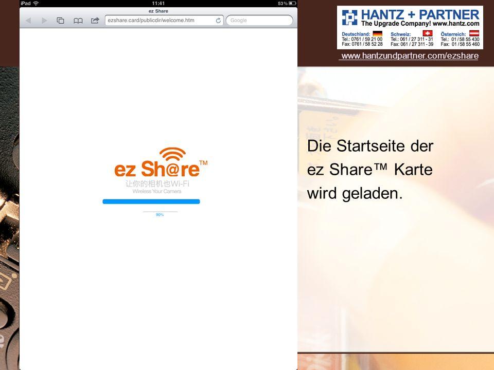 Die Startseite der ez Share™ Karte wird geladen.