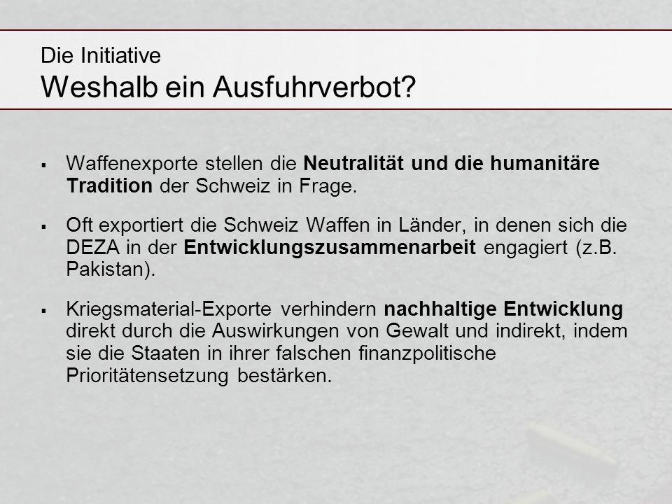 Die Initiative Weshalb ein Ausfuhrverbot
