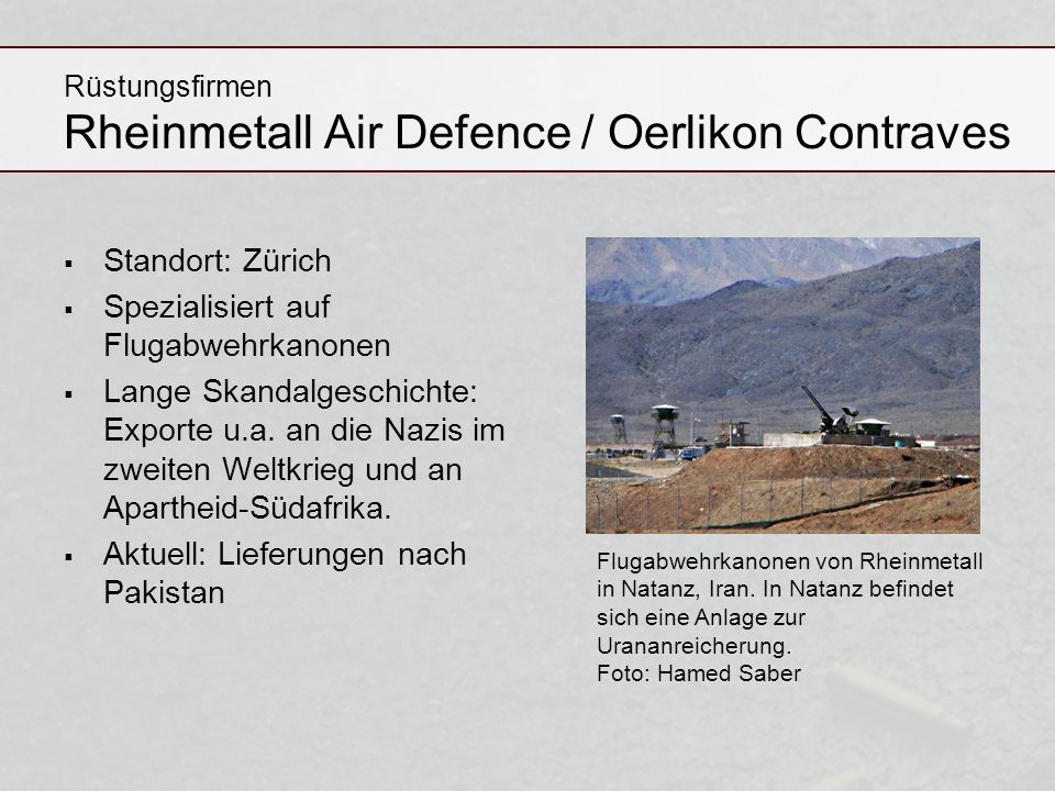Rüstungsfirmen Rheinmetall Air Defence / Oerlikon Contraves