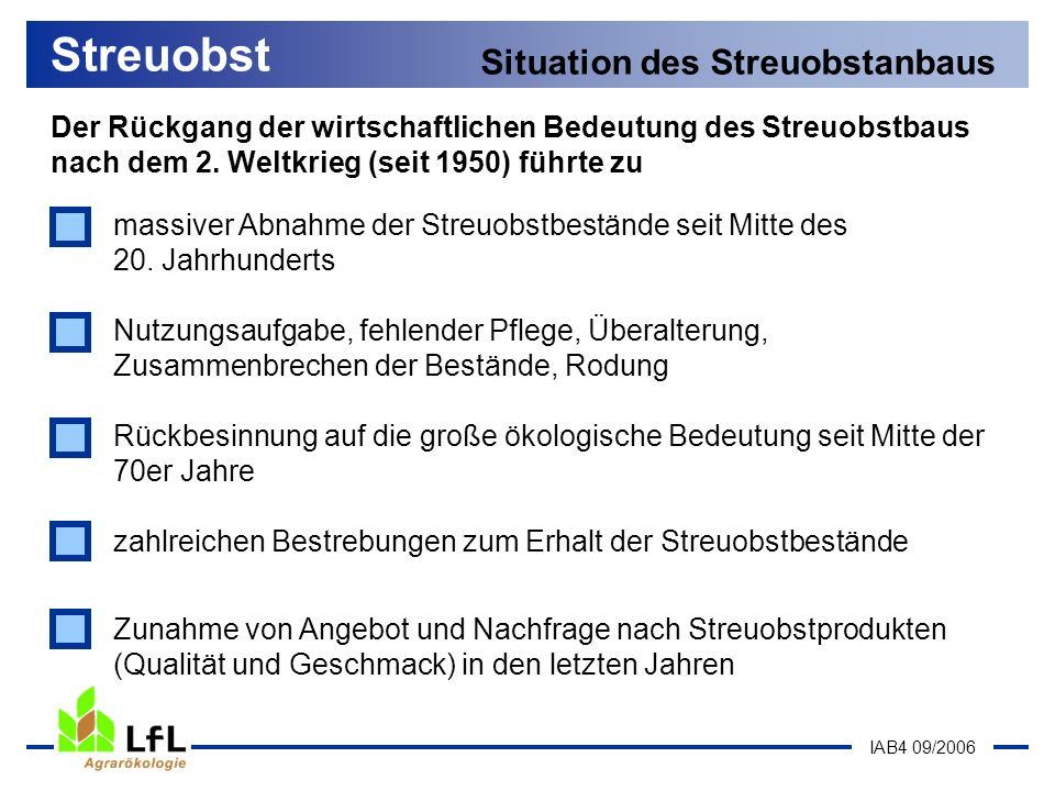 Streuobst Situation des Streuobstanbaus
