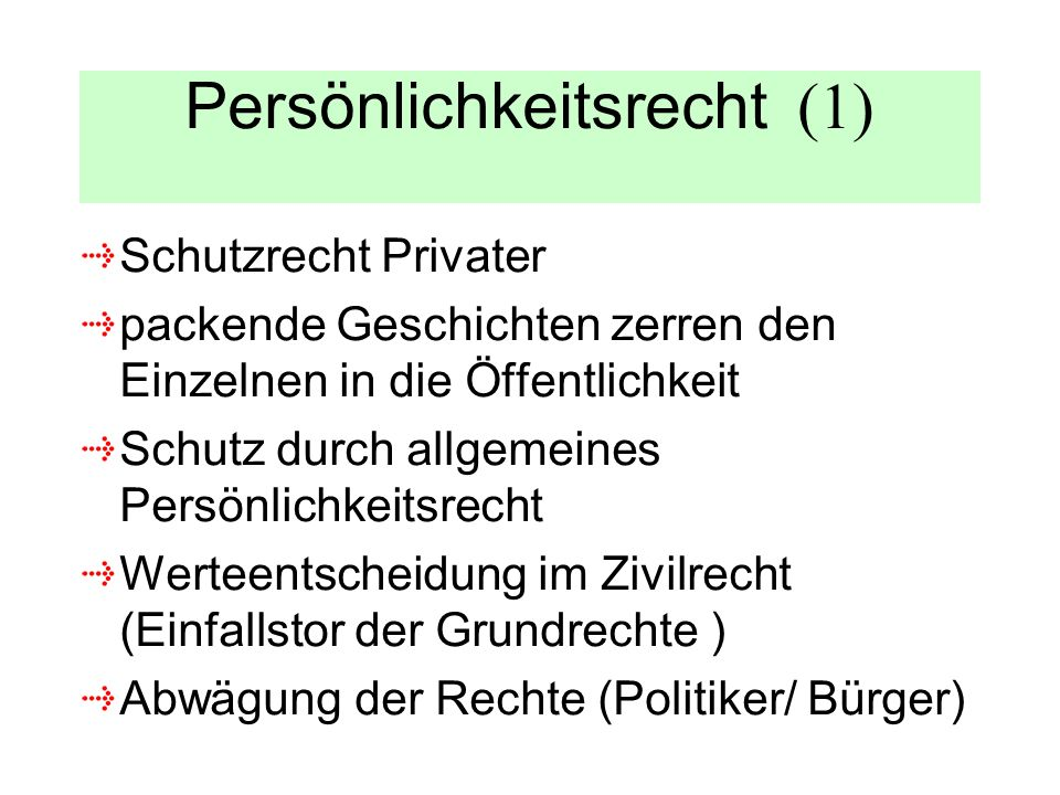 Persönlichkeitsrecht (1)
