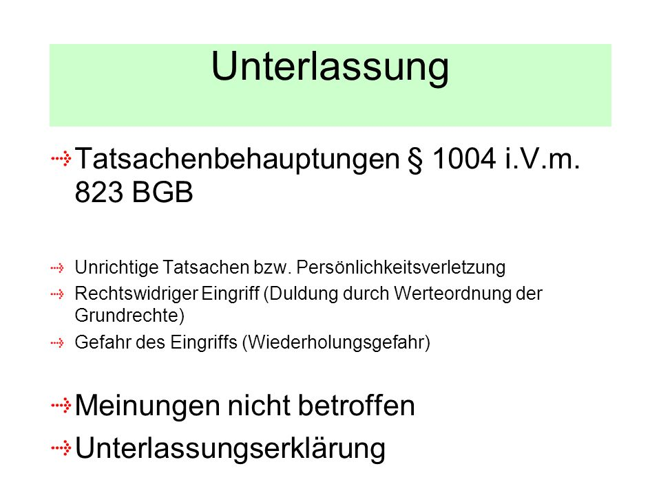 Unterlassung Tatsachenbehauptungen § 1004 i.V.m. 823 BGB