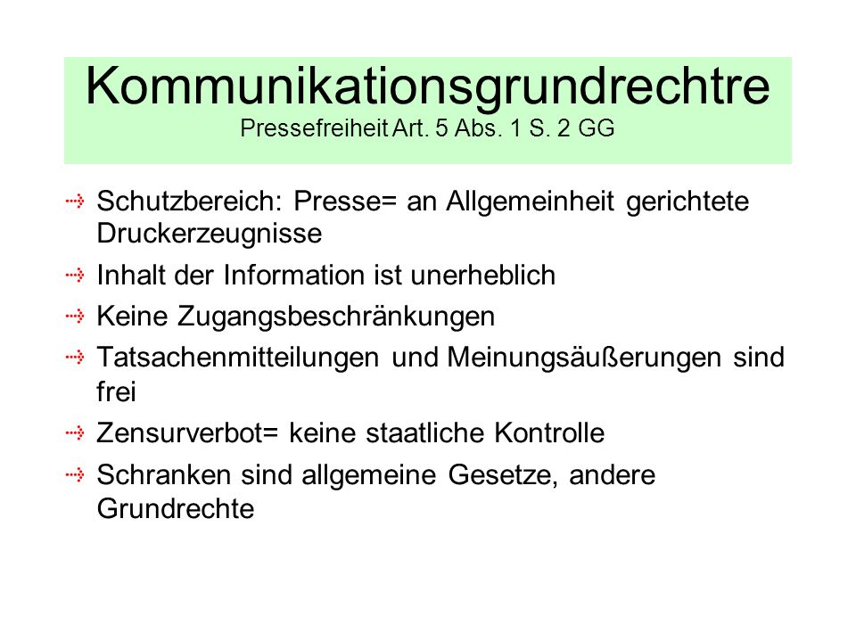 Kommunikationsgrundrechtre Pressefreiheit Art. 5 Abs. 1 S. 2 GG