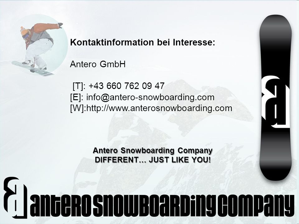 Antero Snowboarding Company DIFFERENT… JUST LIKE YOU!