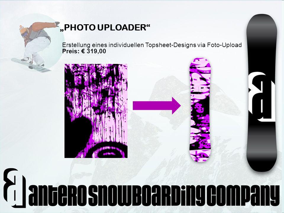 """""""PHOTO UPLOADER Erstellung eines individuellen Topsheet-Designs via Foto-Upload Preis: € 319,00"""