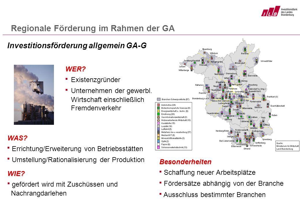 Regionale Förderung im Rahmen der GA