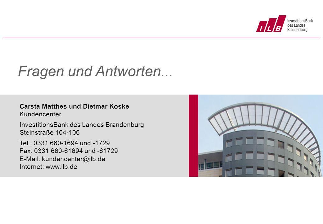 Fragen und Antworten... Carsta Matthes und Dietmar Koske Kundencenter