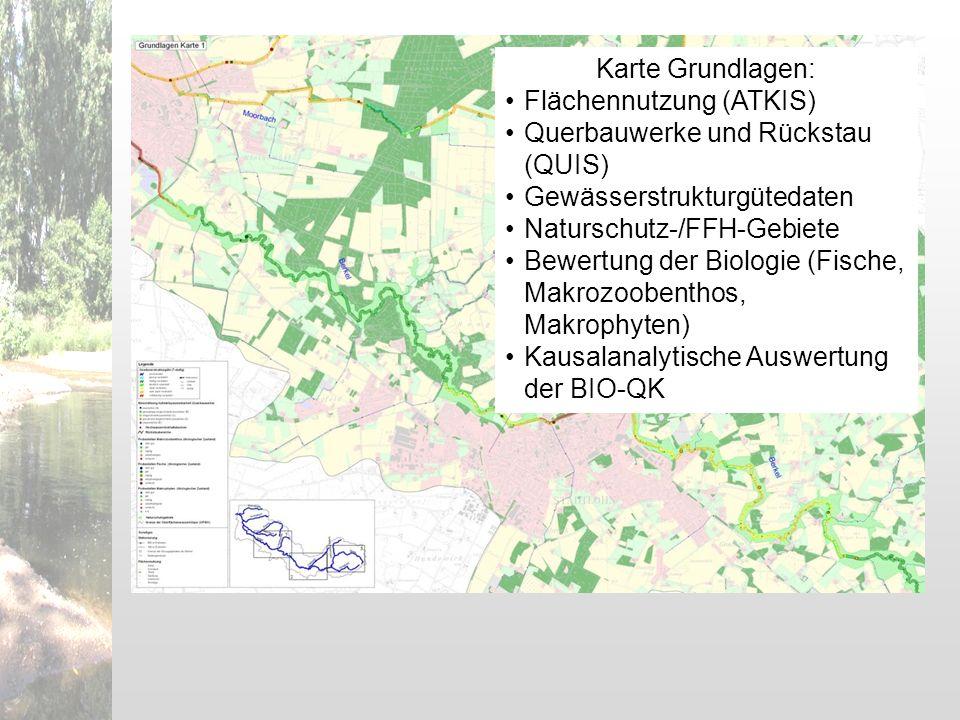 Karte Grundlagen: Flächennutzung (ATKIS) Querbauwerke und Rückstau (QUIS) Gewässerstrukturgütedaten.