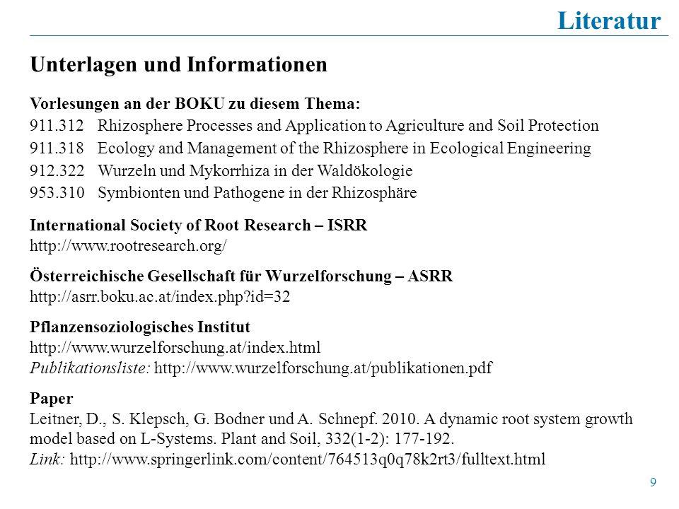 Literatur Unterlagen und Informationen