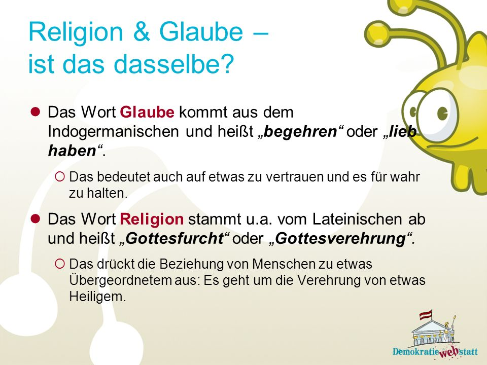 Religion & Glaube – ist das dasselbe