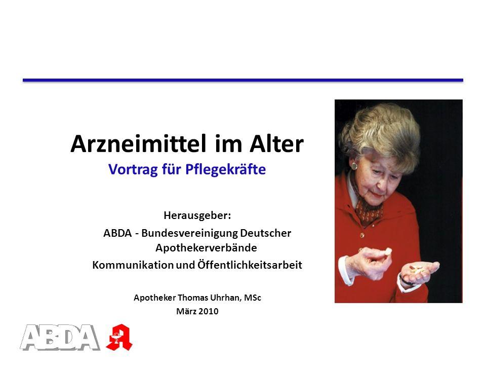 Arzneimittel im Alter Vortrag für Pflegekräfte