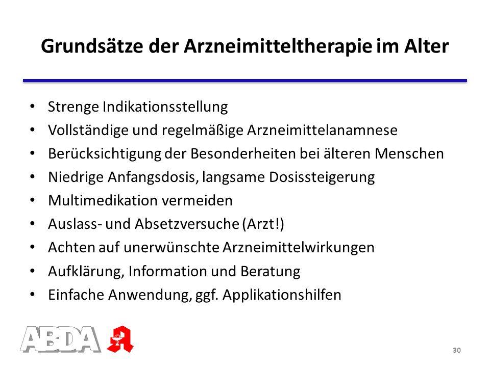 Grundsätze der Arzneimitteltherapie im Alter