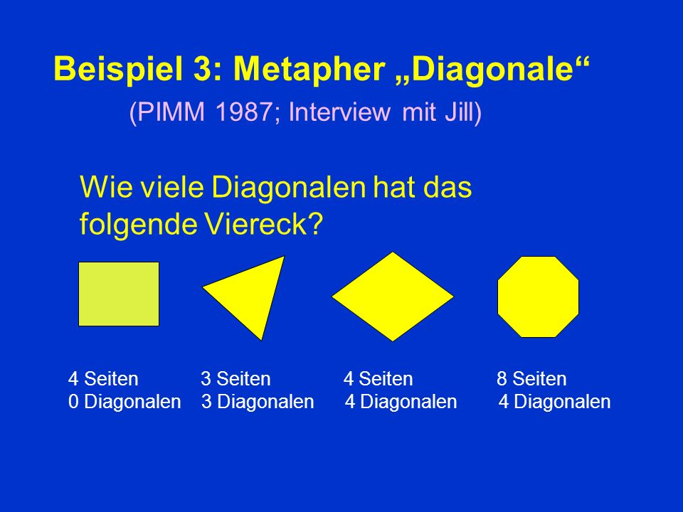 "Beispiel 3: Metapher ""Diagonale (PIMM 1987; Interview mit Jill)"