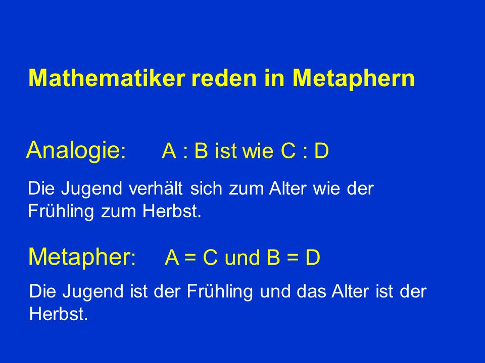 Mathematiker reden in Metaphern
