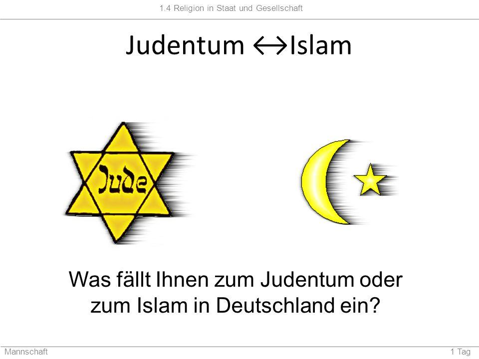 Was fällt Ihnen zum Judentum oder zum Islam in Deutschland ein
