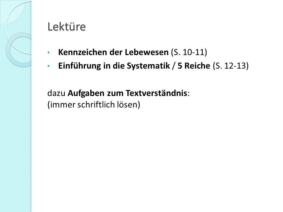 Lektüre Kennzeichen der Lebewesen (S. 10-11)
