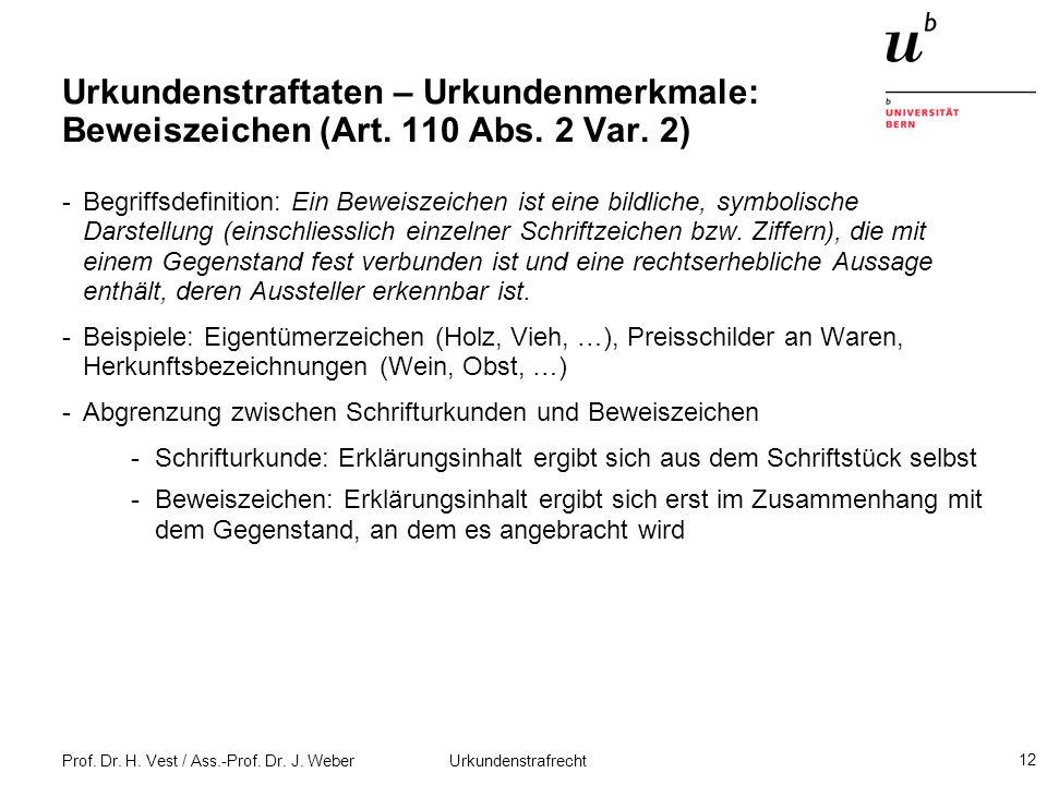 Urkundenstraftaten – Urkundenmerkmale: Beweiszeichen (Art. 110 Abs