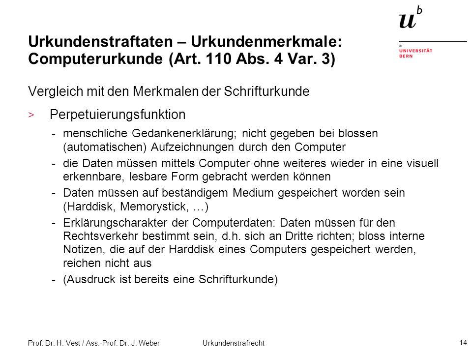 Urkundenstraftaten – Urkundenmerkmale: Computerurkunde (Art. 110 Abs