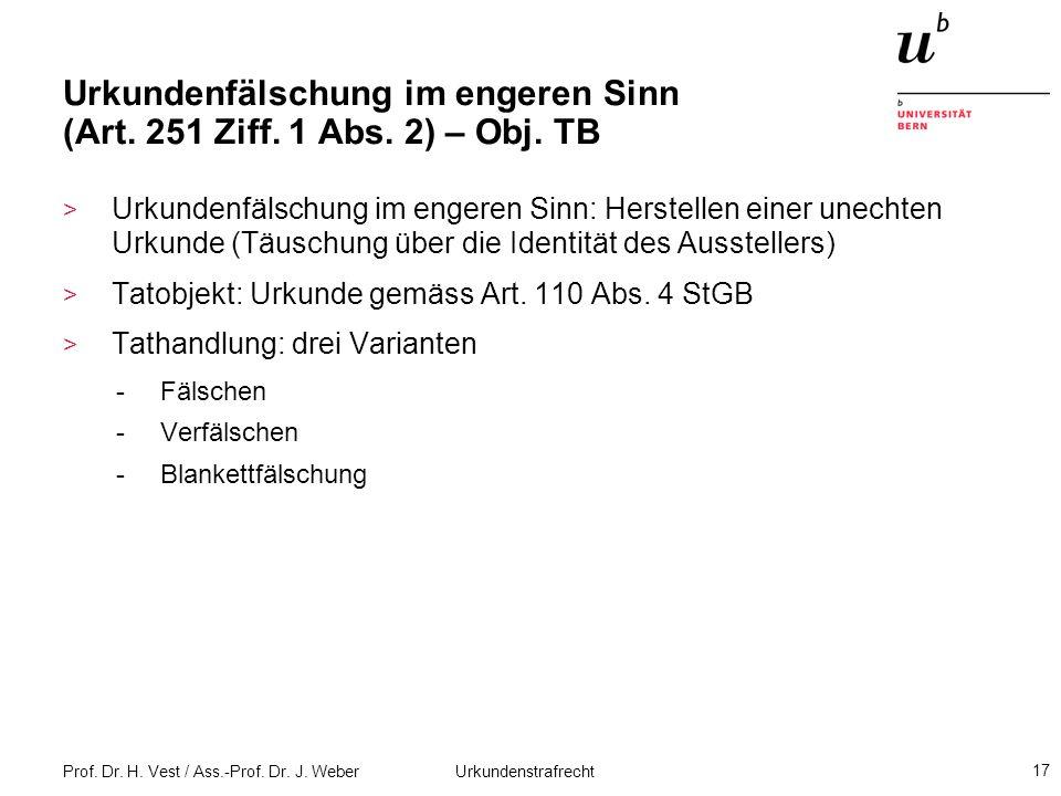 Urkundenfälschung im engeren Sinn (Art. 251 Ziff. 1 Abs. 2) – Obj. TB