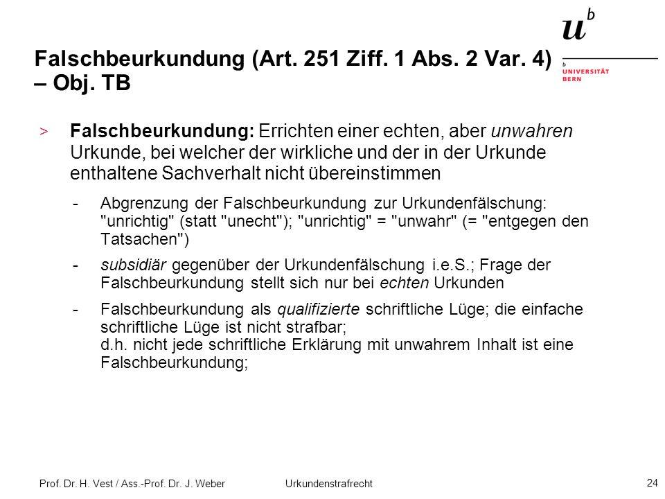 Falschbeurkundung (Art. 251 Ziff. 1 Abs. 2 Var. 4) – Obj. TB