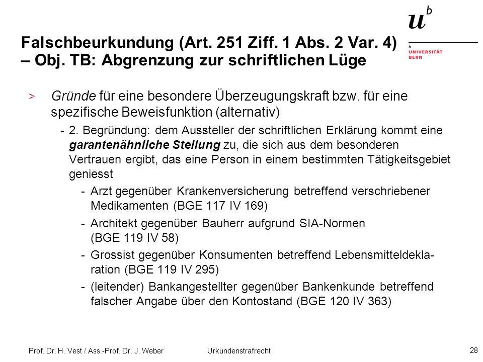 Falschbeurkundung (Art. 251 Ziff. 1 Abs. 2 Var. 4) – Obj
