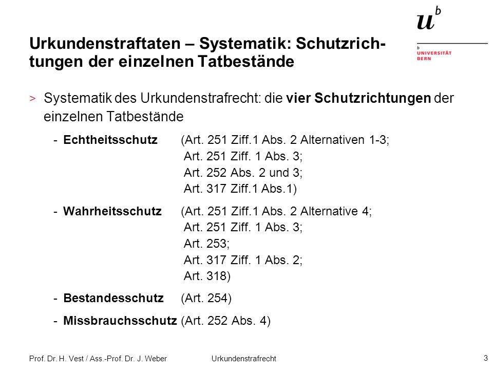Urkundenstraftaten – Systematik: Schutzrich-tungen der einzelnen Tatbestände