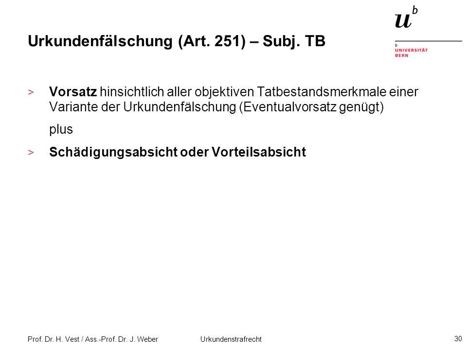 Urkundenfälschung (Art. 251) – Subj. TB