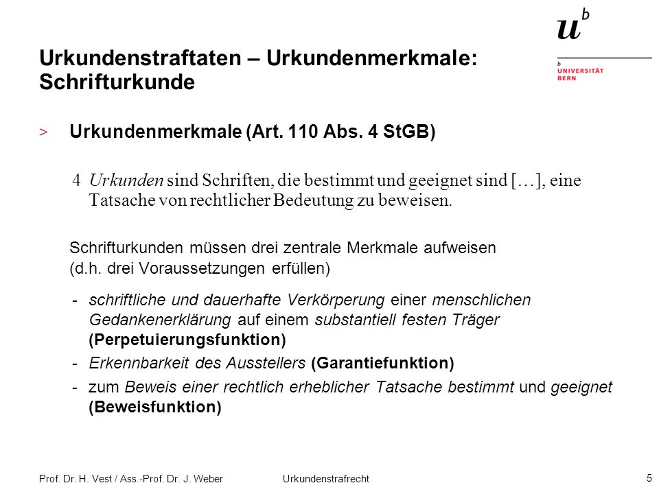 Urkundenstraftaten – Urkundenmerkmale: Schrifturkunde