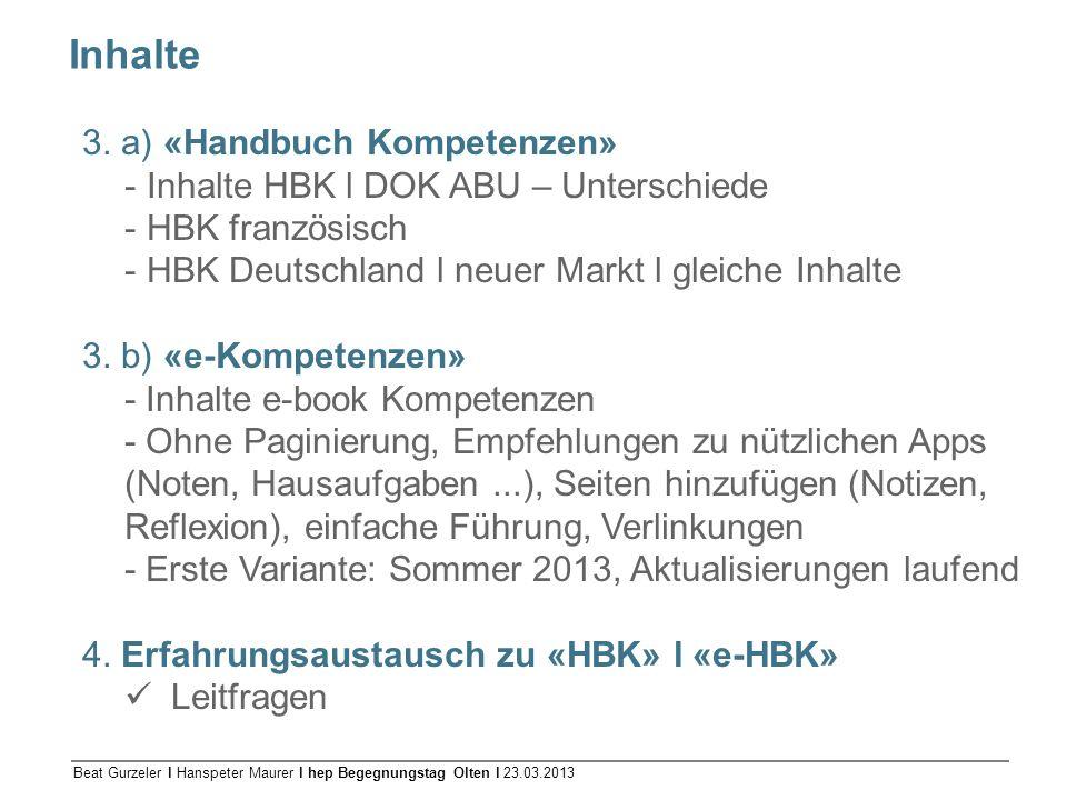 Inhalte 3. a) «Handbuch Kompetenzen»