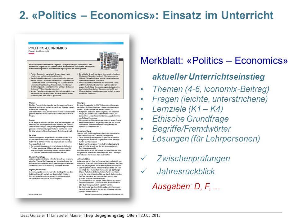 2. «Politics – Economics»: Einsatz im Unterricht