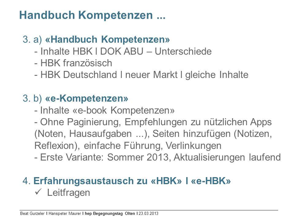 Handbuch Kompetenzen ... 3. a) «Handbuch Kompetenzen»