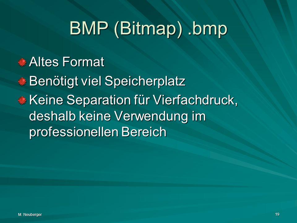 BMP (Bitmap) .bmp Altes Format Benötigt viel Speicherplatz