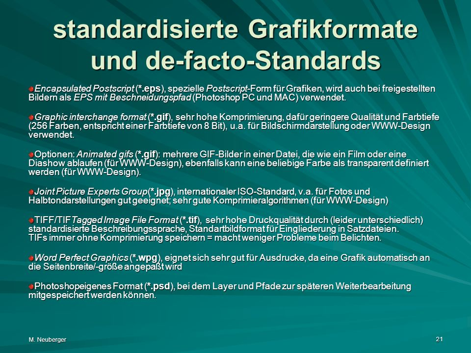 standardisierte Grafikformate und de-facto-Standards